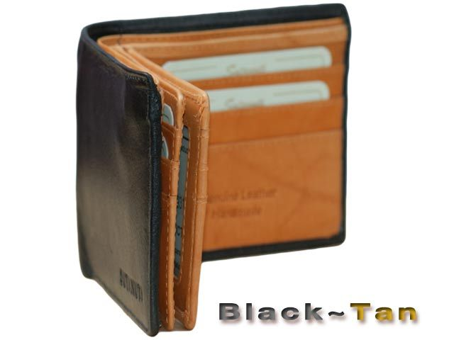 MENS leather wallet 14 Card slots Double Bifold Zip note pocket