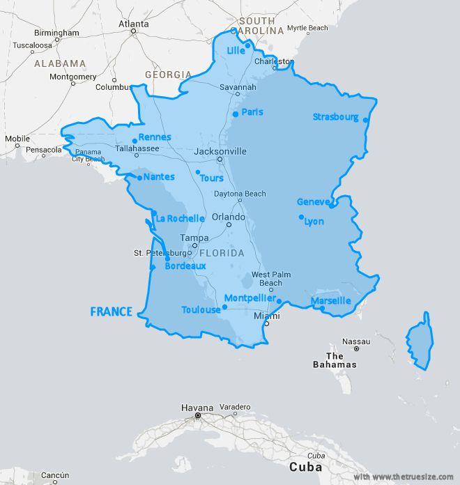 Map comparison size of France and Florida with cities Carte Comparaison de la taille de la France et de la Floride - avec villes