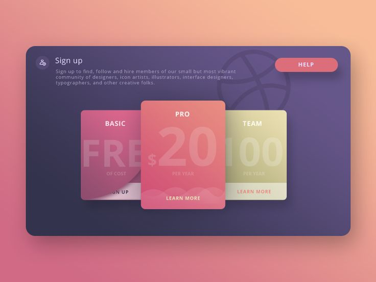 Sign Up Card for Dribbble (Experimentation)