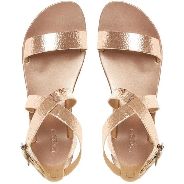 LOTTI Leather Cross Strap Flat Sandal ROSE GOLD found on Polyvore featuring shoes, sandals, flats, t-strap flats, summer shoes, buckle sandals, summer flat sandals and strappy flat sandals