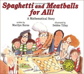 A #math story: Spaghetti and Meatball for all! Teaches about area and perimeter. Math #books