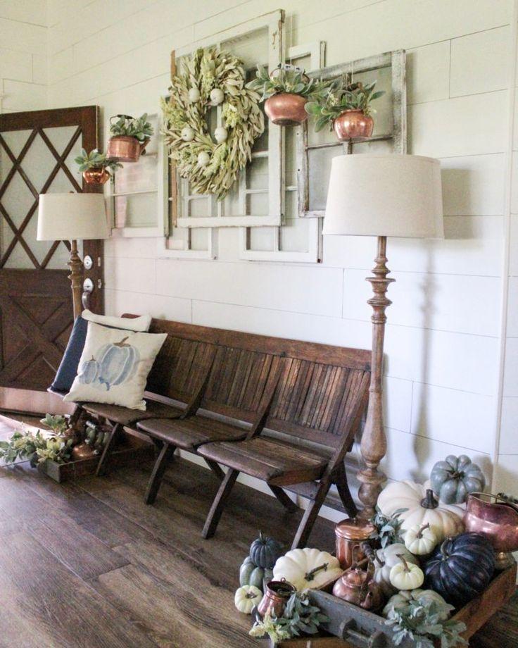 Farmhouse Fall Entryway Decor Copper and