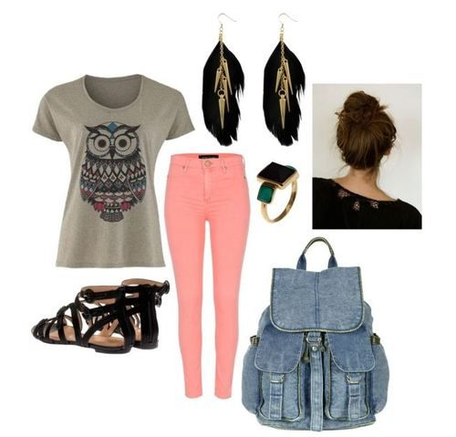 for school-  grayish owls shirt-baby pink skinyjeans-a high bun- black cute sandles- feather earings-pretty ring-jean backpack