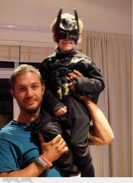 Too cute, Tom Hardy (Bane) with his son (Batman)