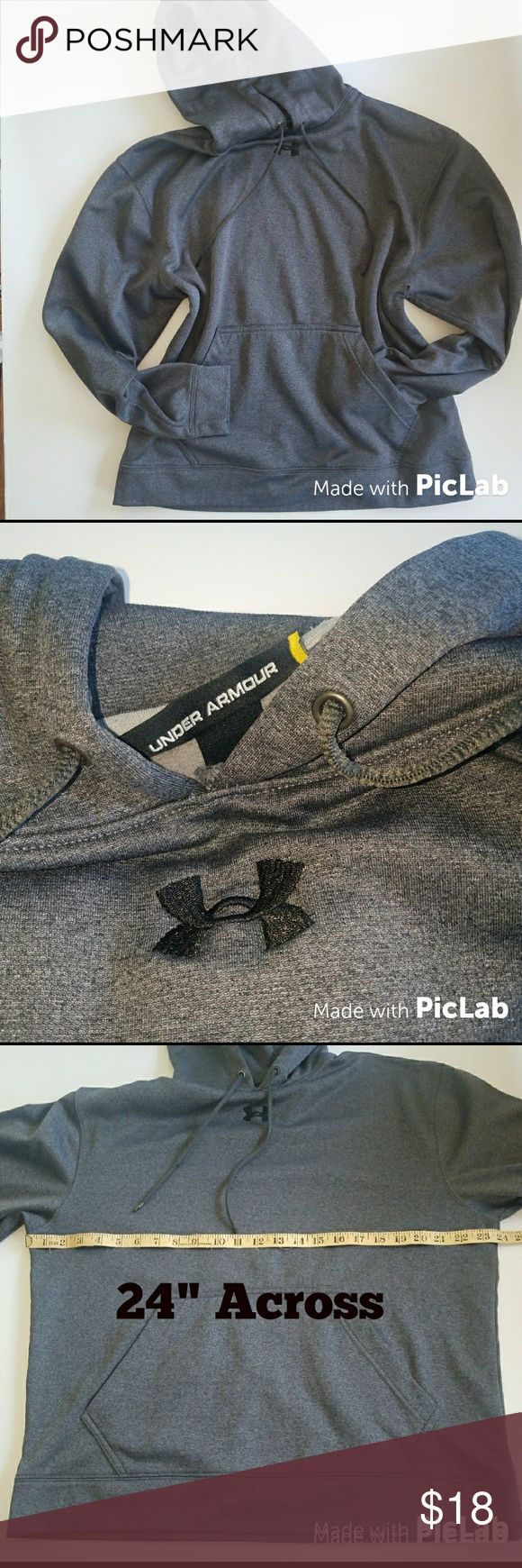 Under Armour Hoodie Gray Under Armour pullover hooded sweatshirt with kangaroo pouch in the front. It id sized Medium loose. I feel this can be with womens or mens because of the neutral gray color. 100% Polyester  NO TRADES ***NO PAYPAL  SMOKE FREE & PET FREE HOME Under Armour Tops Sweatshirts & Hoodies