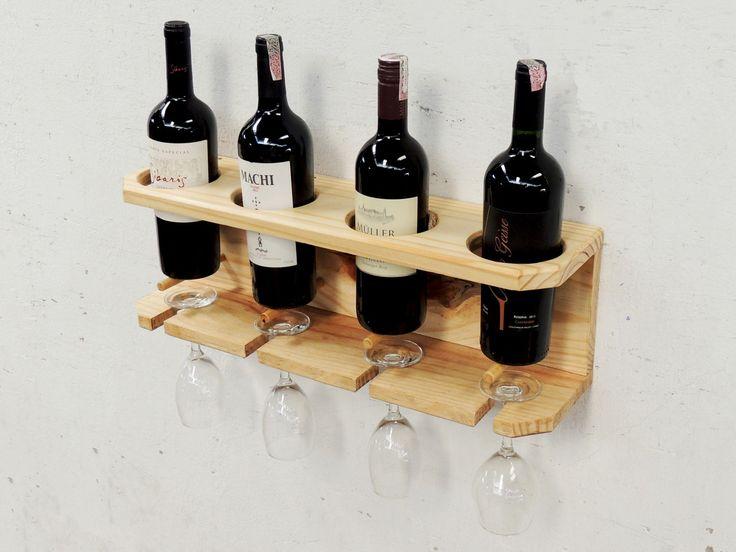 Suporte para 4 garrafas de vinho mais 4 taças.  Peça totalmente de madeira pínus com barras em marfim.    Acompanha gabarito de furação e dispositivos de fixação.