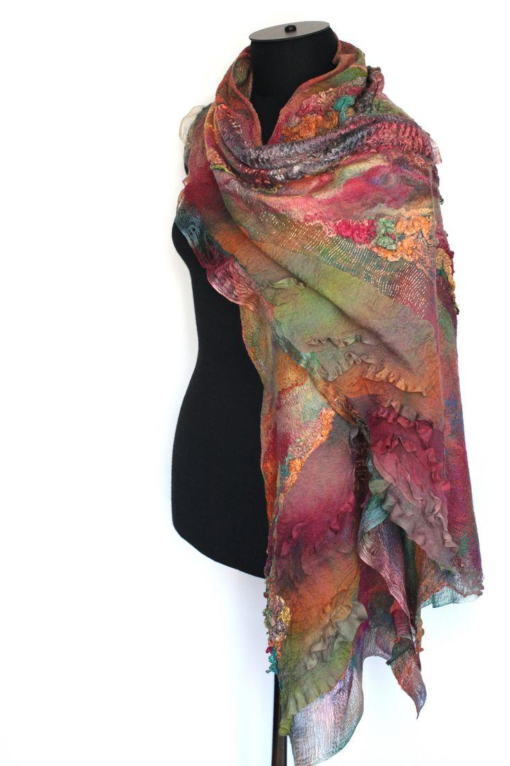 "Super fine Australian merino wool, mulberry silk, silk gauze fabric, cotton gauze fabric, silk chiffon fabric. Length 82"" (208 cm) Width 14 1/2"" (37 сm) Weight 4,85 oz (137 gm)"