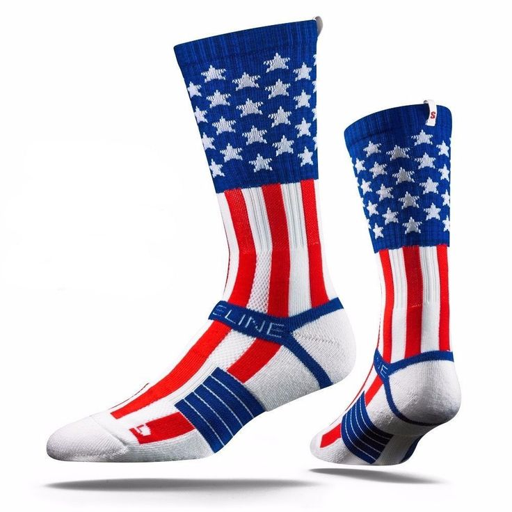 Strideline® 2.0 Uncle Sam USA Flag Stars Stripes Red White Blue Crew Socks NEW