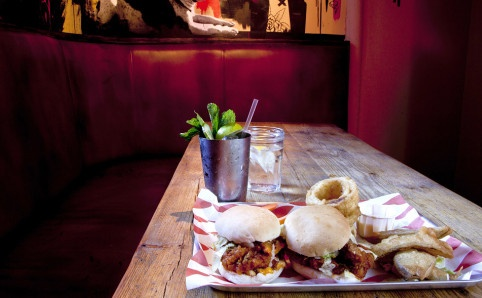 To eat at: Meat Liquor. I want to NOT want to go here because of the hype, but... who can resist the promise of a burger like this?