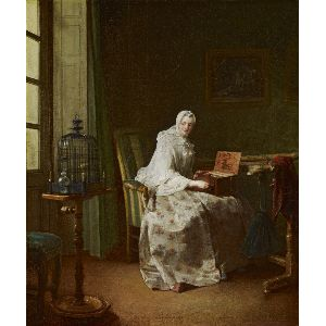 Jean-Siméon Chardin  (1699 - 1779)  Lady with a Bird-Organ, 1753 (?) Oil on canvas (lined) 20 x 17 in. (50.8 x 43.2 cm)