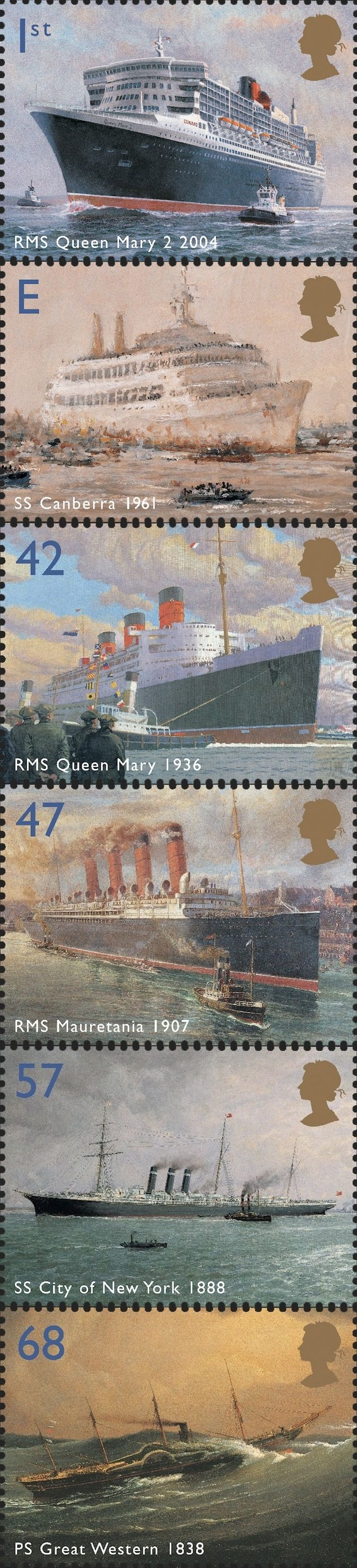 Royal Mail 2004 Ocean Liners. Stately Queens of the sea (RMS Queen Mary 2 2004; SS Canberra 1961; MS Queen Mary 1936; RMS Mauretania 1907; SS City of New York 1888; PS Great Western 1838)