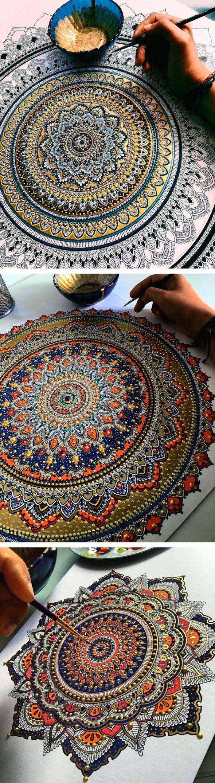 coloriage mandala motifs floraux pinceau papier blanc main bol bleu