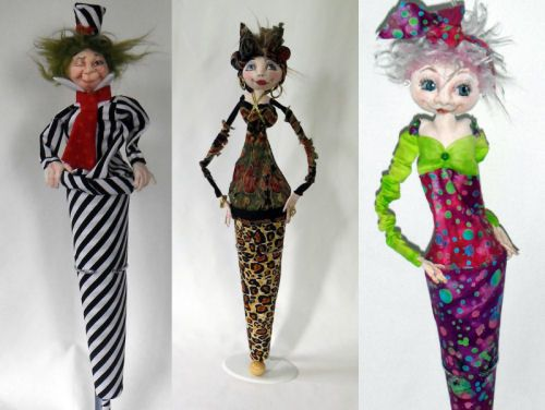 """Poppits  You'll have a ball learning to make these amazing 19"""" Cone Dolls with a wonderful array of variations. Make them with arms attached to the cone, hanging loose or folded. Stitch a finger to the lip or face, for a comical look! Put on a hat or make them like a clown! Dress them up or down, fancy or plain these wonderful dolls will delight children and adults alike.  Cloth Doll Patterns and Tutorials by  Sharon Mitchell"""