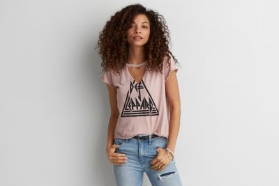 AEO Def Leppard Band T-Shirt by  American Eagle Outfitters | With the band. Take your style on tour in soft, lived-in, vintage-inspired band tees.  Shop the AEO Def Leppard Band T-Shirt and check out more at AE.com.