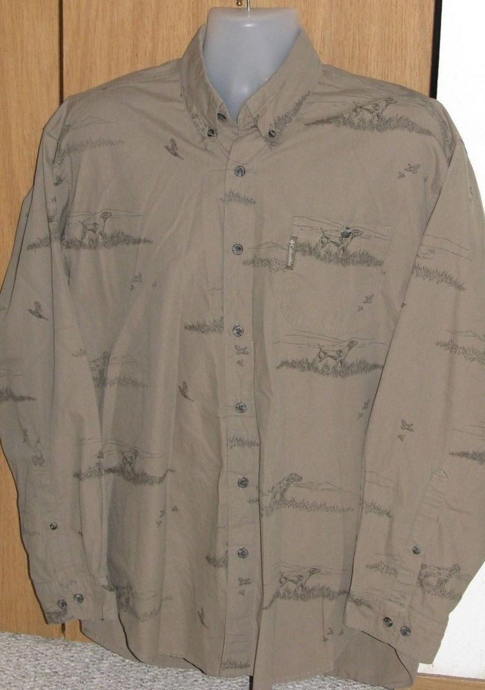 ae37a2e122527 Columbia River Lodge Medium Oxford Bird Dog Hunting Long Sleeve Cotton Shirt  #Columbia #ButtonFront