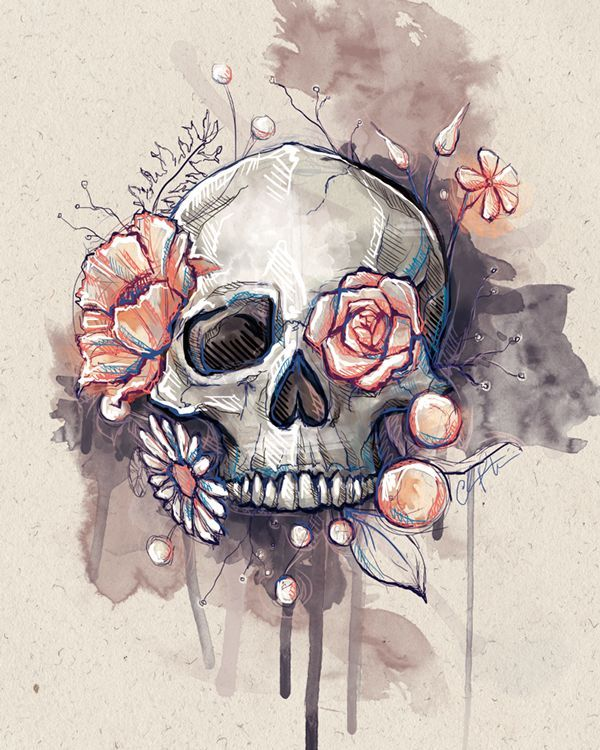 I don't mind the skull in this one at all! Love this idea for a thigh tattoo...