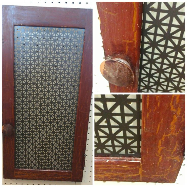 Vintage cabinet door with perforated metal screen for for Aluminum kitchen cabinets doors