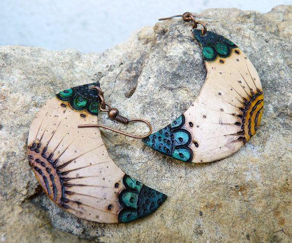 Totumo handmade earrings  moon shaped by beautyseed on Etsy