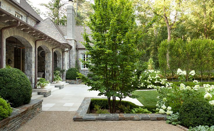 Howard Design Studio - from hard-scape to the lambs ears peeking out under a boxwood + white hydrangeas, oh yea, love it all!