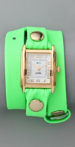 Neon Green Wrap Watch.  Stackable wrist jewelry.  Great for a statement and matches well with the skirt.