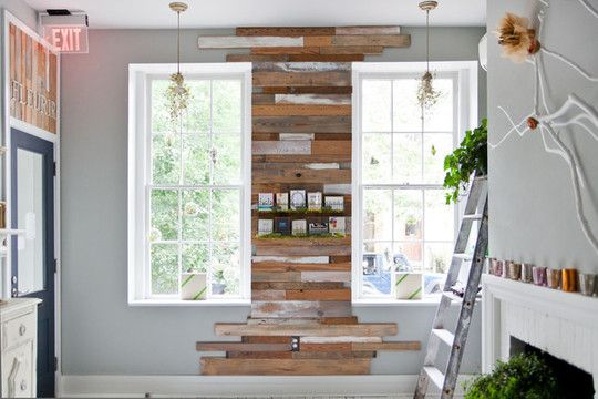 reclaimed wood wall.