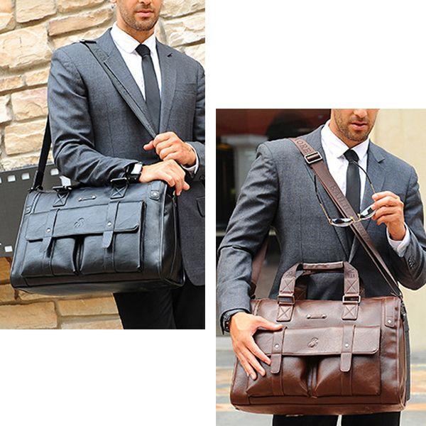 Men Business Vintage Laptop Bag Briefcase Big Capacity  Horizontal Handbag Travel Bag