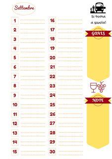 Nata disorganizzata: Refill gratuiti per l'agenda: il mese di settembre da stampare