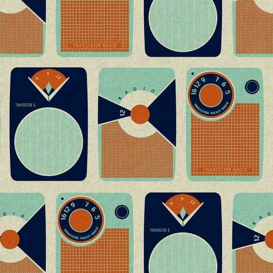 Transistors Orange  Designer: Melody Miller  Collection: Ruby Star Rising for Kokka