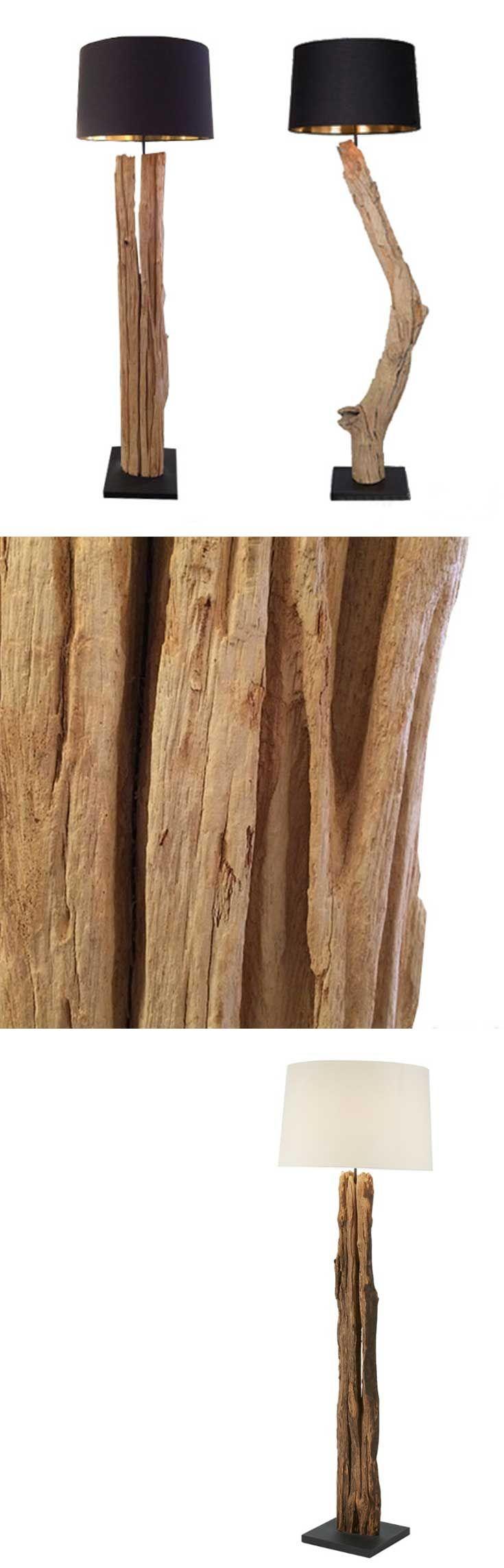 Deze elegante, moderne vloerlamp is hergebruik in zijn meest natuurlijke vorm. Het Indonesische drijfhout, gevormd door de zee, maakt elke lamp uniek. Natuurlijk hout op een solide basis vormt een originele staande lamp , terwijl de ronde lampenkap zorgt voor aangename, warme verlichting, zeker door de goude binnenkant. Een harmonieus, uniek ontwerp dat een aanwinst voor uw interieur zal zijn.