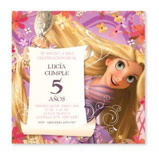 Invitaciones para un cumpleaños infantil con el personaje de Rapunzel de Enredados.  INF1  INF2