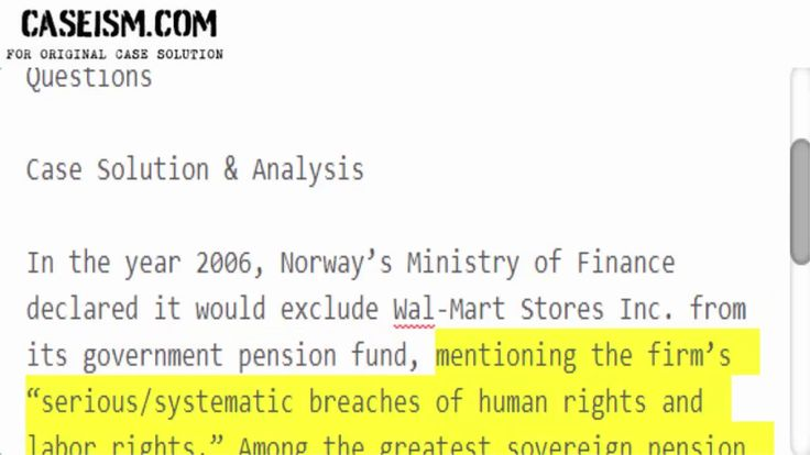 The Norwegian Government Pension Fund: The Divestiture of Wal-Mart Case Solution & Analysis https://caseism.com  This Case Is About The Norwegian Government Pension Fund: The Divestiture of Wal-Mart Case Solution and Analysis  Get Your The Norwegian Government Pension Fund: The Divestiture of Wal-Mart Case Solution at Caseism.com  http://ift.tt/2G1ne1Y https://youtu.be/wWfs-Fcgi5U