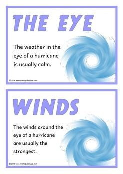 A set of 18 printable fact cards that give interesting facts about hurricanes. Each fact card has a key word heading, making this set a useful topic word bank as well! Fantastic for discussions and introducing hurricanes! Visit our TpT store for more information and for other classroom display resources by clicking on the provided links.
