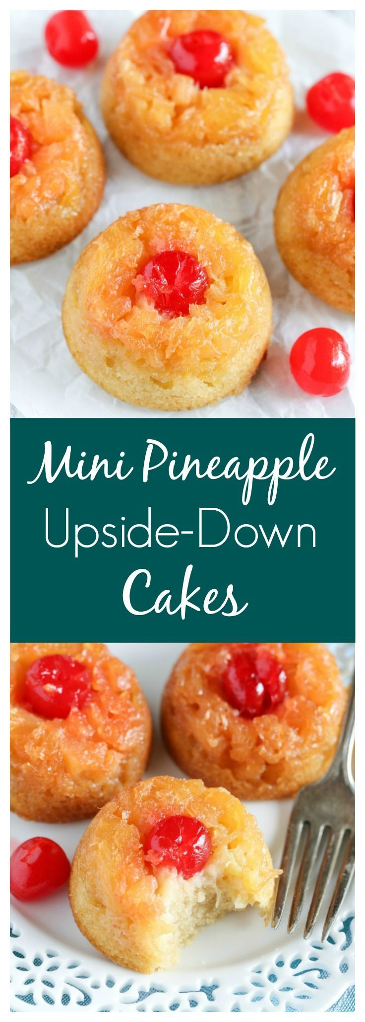 These Mini Pineapple Upside-Down Cakes are just like the classic dessert, but in mini form! Perfect for any time of year!