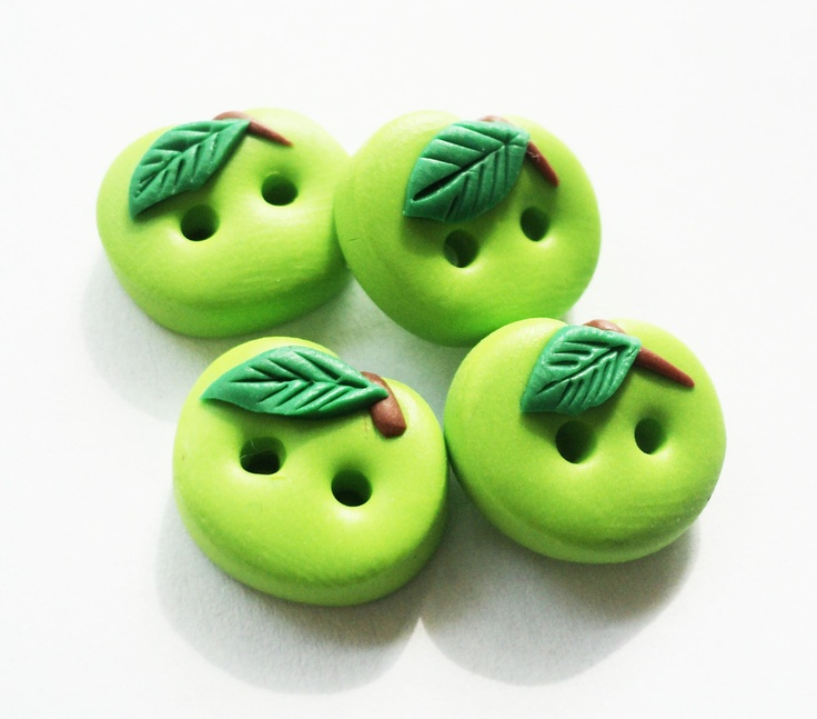 Green Apple - polymer clay buttons ( set of 4). $5.25, via Etsy.