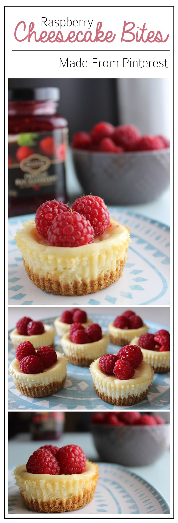 This cheesecake bites recipe is soooo creamy and delicious! You can prep these bites a day or two before your party and top them with fresh raspberries!