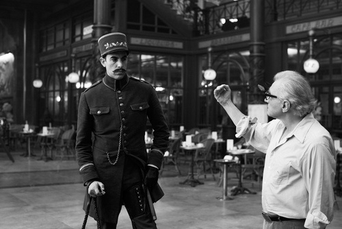 Sacha Baron Cohen and Martin Scorsese on-set of Hugo (2011)