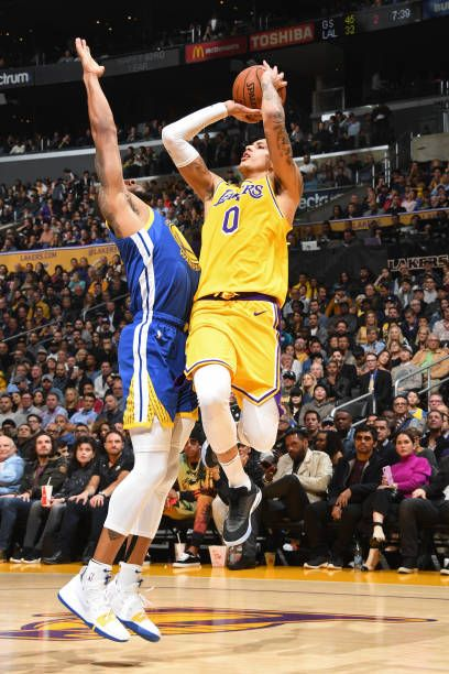 9f2b56d529fc4 Kyle Kuzma of the Los Angeles Lakers shoots the ball against the Golden  State Warriors on January 21 2019 at STAPLES Center in Los Angeles  California.
