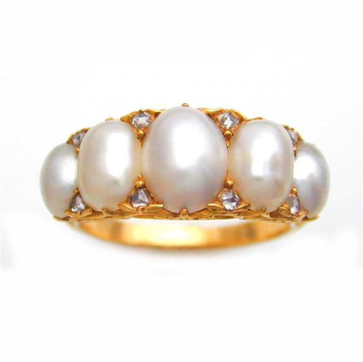 Wedding Ring Bands >> A VICTORIAN HALF PEARL AND DIAMOND HALF HOOP RING | Just ...