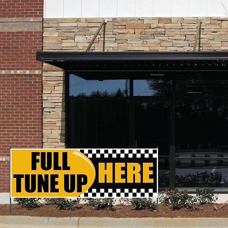 """Auto Repair - 3' x 9' """"Full Tuneup Here"""" 10 oz. Vinyl Banner, with"""