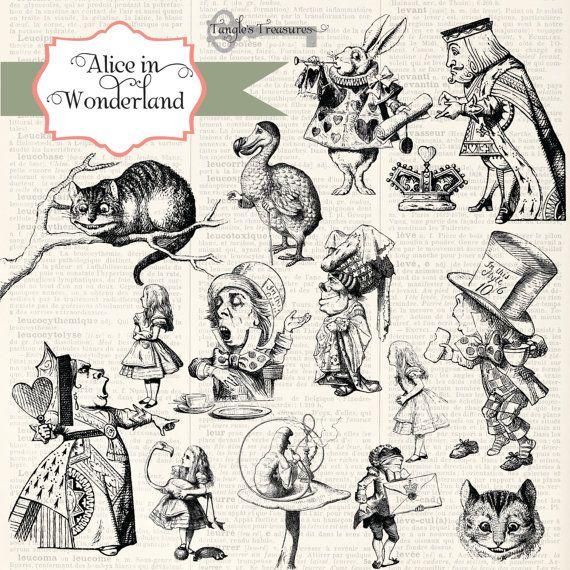 Instant Download Alice In Wonderland Digital Clip Art