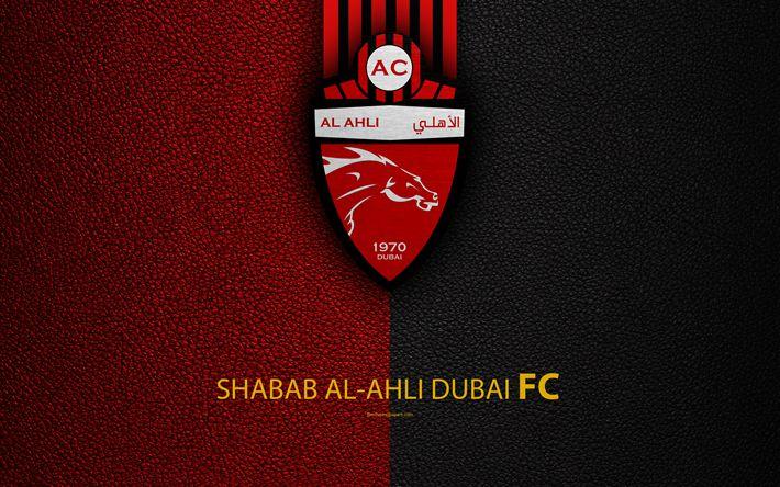 Download wallpapers Shabab Al-Ahli Dubai FC, 4K, logo, football club, leather texture, UAE League, Dubai, United Arab Emirates, football, Arabian Gulf League