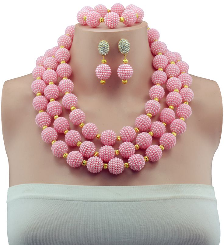 ==> [Free Shipping] Buy Best 2016 Fashion Pink African Beads Jewelry Set Wedding Beads Balls Simple Design Jewelry Set 3 layer necklace SET 69 Online with LOWEST Price | 32737890593