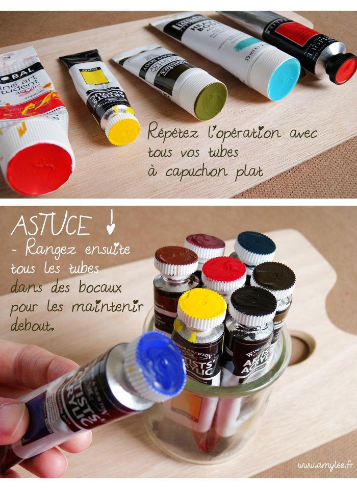 Mieux ranger ses tubes de peinture à l'atelier http://www.amylee.fr/2014/08/ranger-tubes-de-peinture/ #conseils #art