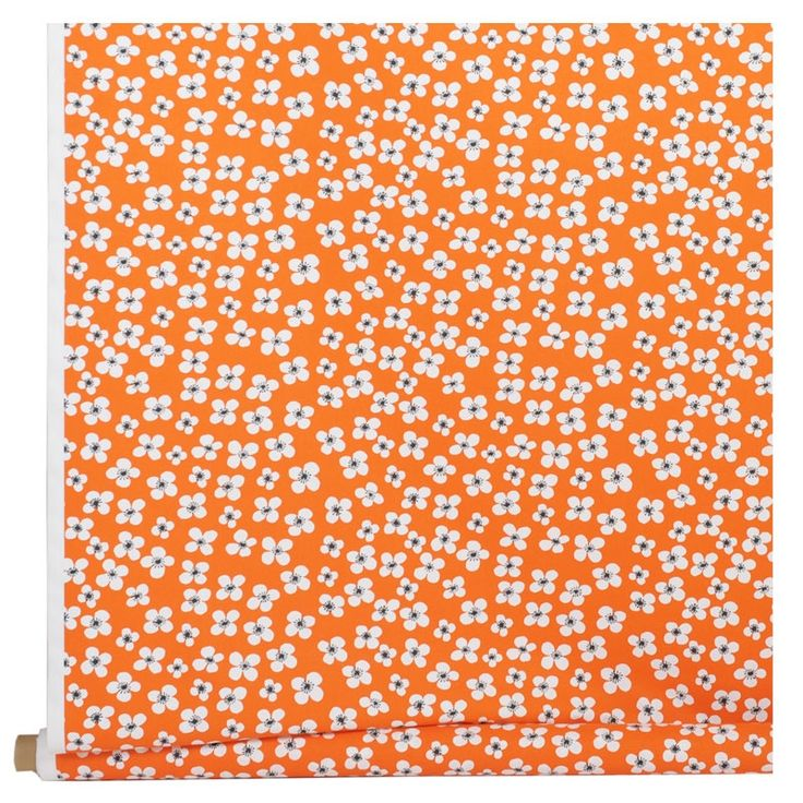 Belle Amie vintage Swedish print by Marianne Westman is a charming design featuring small orange & white flowers. Super for adding a pop of colour to seat covers and cushions. Available from www.newhousetextiles.co.uk