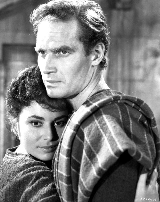 Still of Charlton Heston and Haya Harareet in Ben-Hur - I had such a huge obsession with this film when I was fourteen - it was all I watched (literally) for a year.