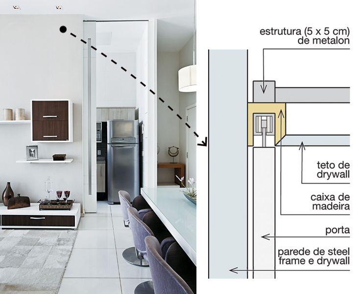 """""""Novas paredes transformaram o loft de 70 m2 num apartamento convencional, como queriam os moradores. Para delimitar os ambientes, a arquiteta carioca Leila Dionízios usou placas de drywall (Lafarge) e armação de steel frame, instaladas em três dias""""."""
