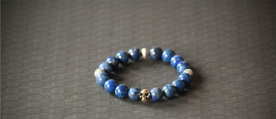 Beaded Fashion Bracelet Skull Lapis Lazuli Lava by BoogeJewellery, $69.00