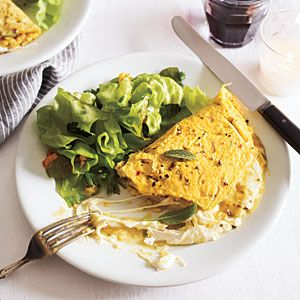 Mozzarella Omelet with Sage and Red Chile Flakes - Breakfast for Dinner Recipes - Cooking Light