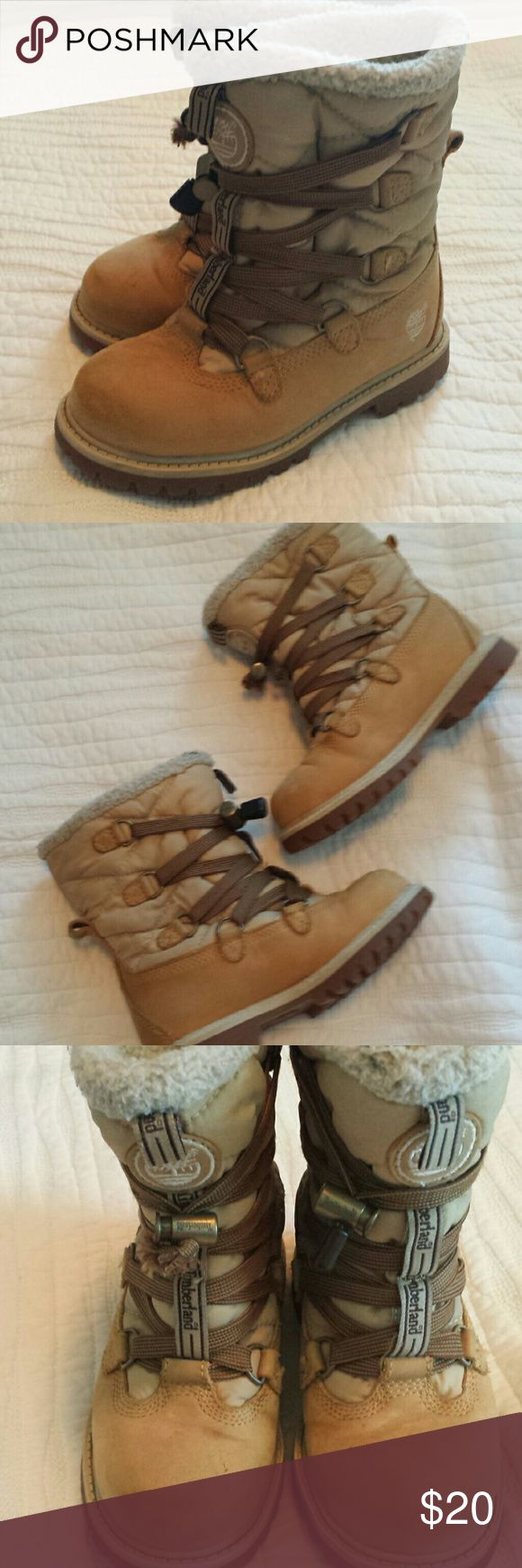 Boys Timberland Boots Good used condition winter boots for little boys. There are a few scuffs and the interior lining does have some staining/piling but it isn't noticeable when the child has them on. Timberland Shoes Boots