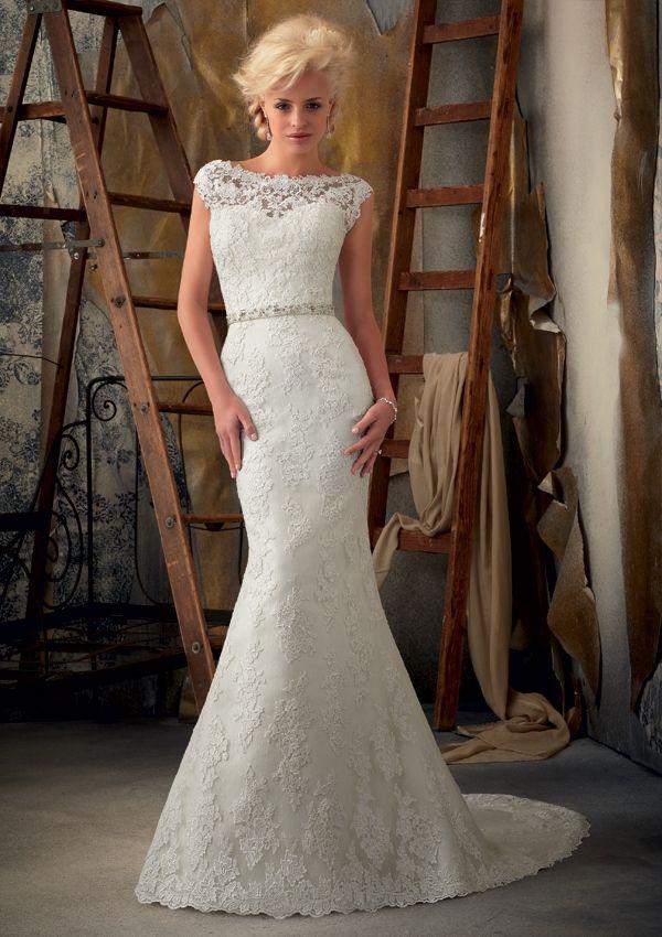 2017 White Ivory Boat Neck V Lace Mermaid Wedding Dress Bridal Gown